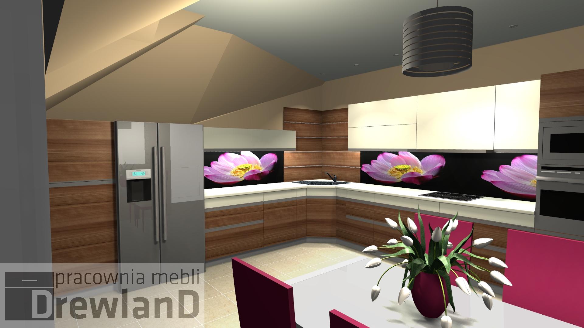 Projekt Kuchni Na Poddaszu Drewno I Kolor Bialy Panel Szklany