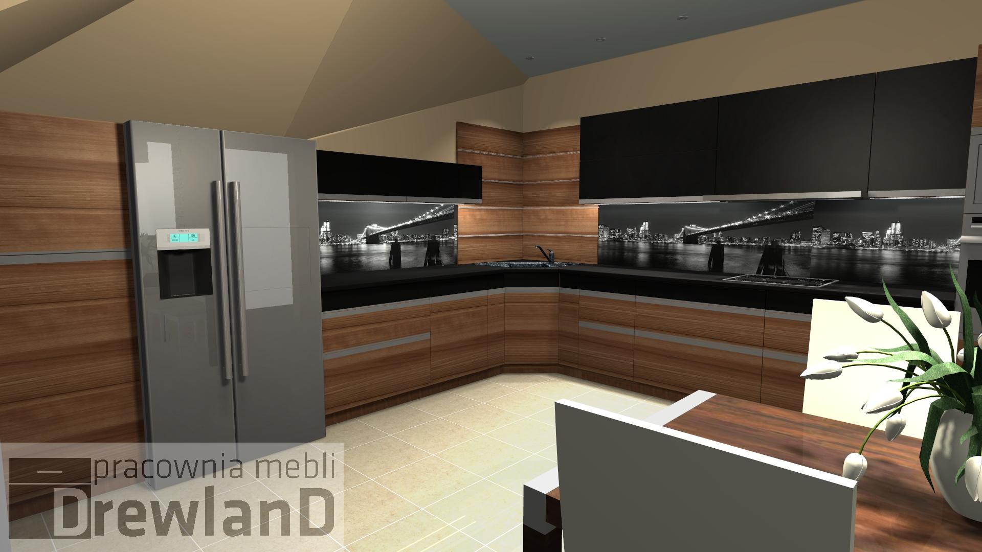 Projekt kuchni na poddaszu – fronty drewno z czarnymi   -> Kuchnie Na Poddaszu Nowoczesne