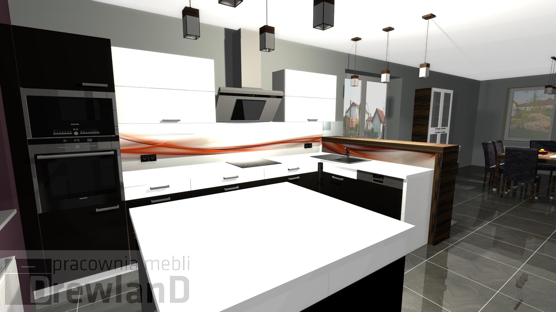 Kuchnia czarno biała  Drewland pl -> Kuchnia Bialo Czarno Drewniana