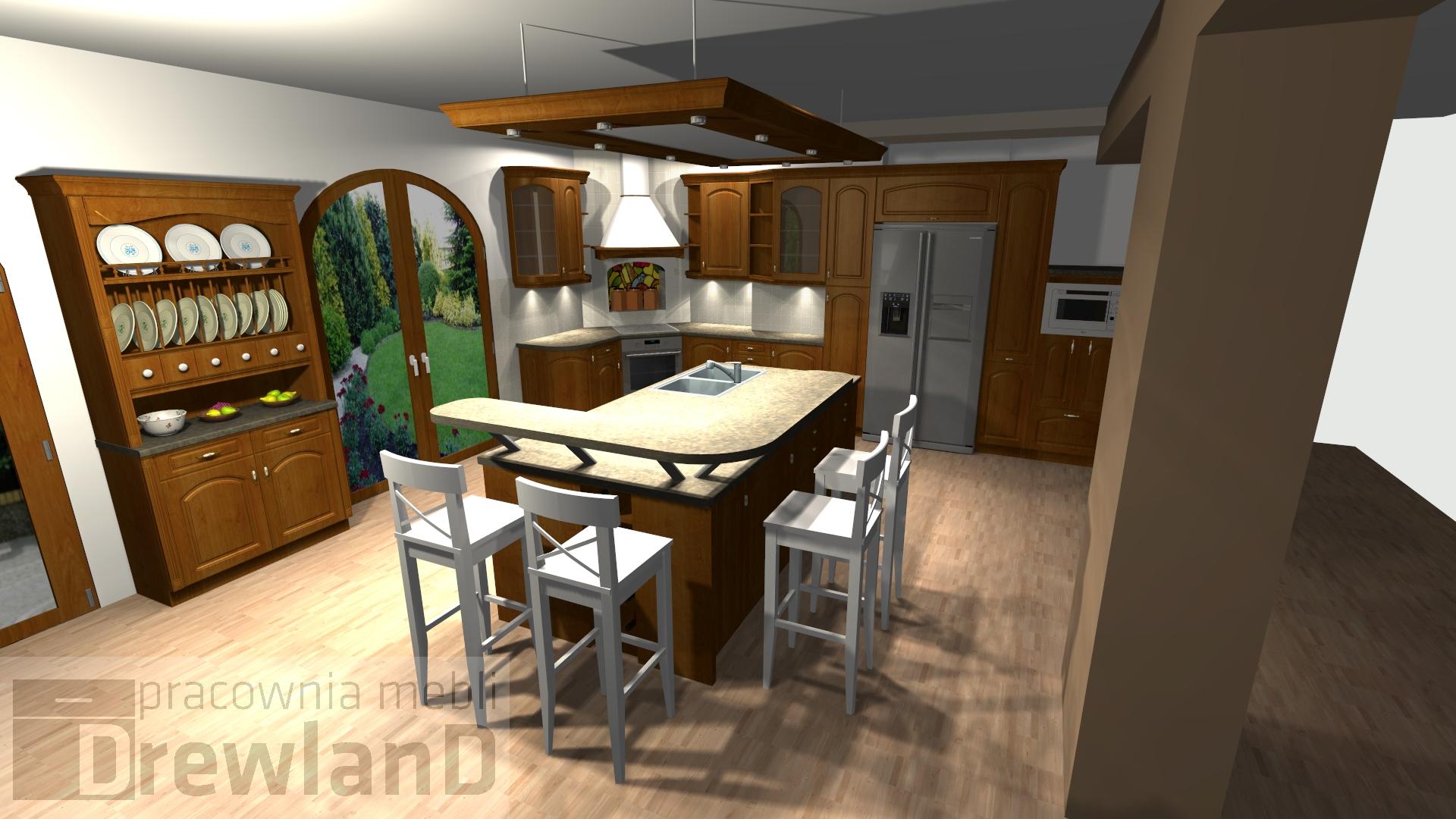 Aranżacja kuchni – duża kuchnia w domku na wsi  Drewland pl