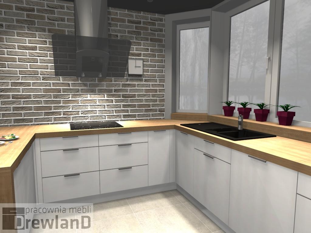 Meble Kuchenne Białe  Drewland pl -> Kuchnia Biale Cegly