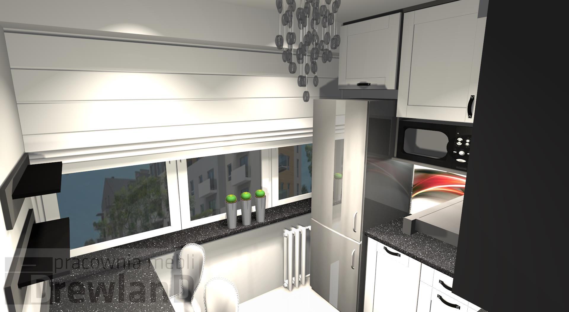 Mała kuchnia w czerni i bieli Projekt kuchni  Drewland pl -> Kuchnia Czarno Kremowa