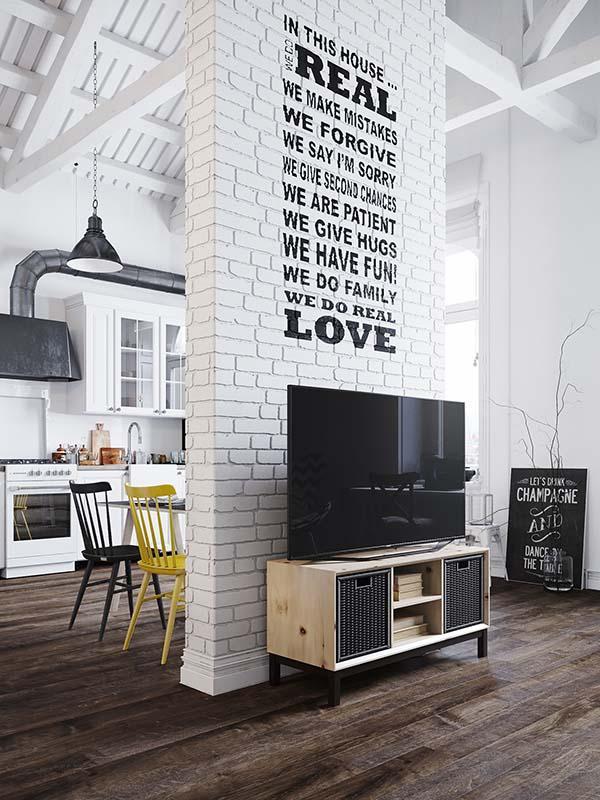Ścianka międzu kuchnią a salonem
